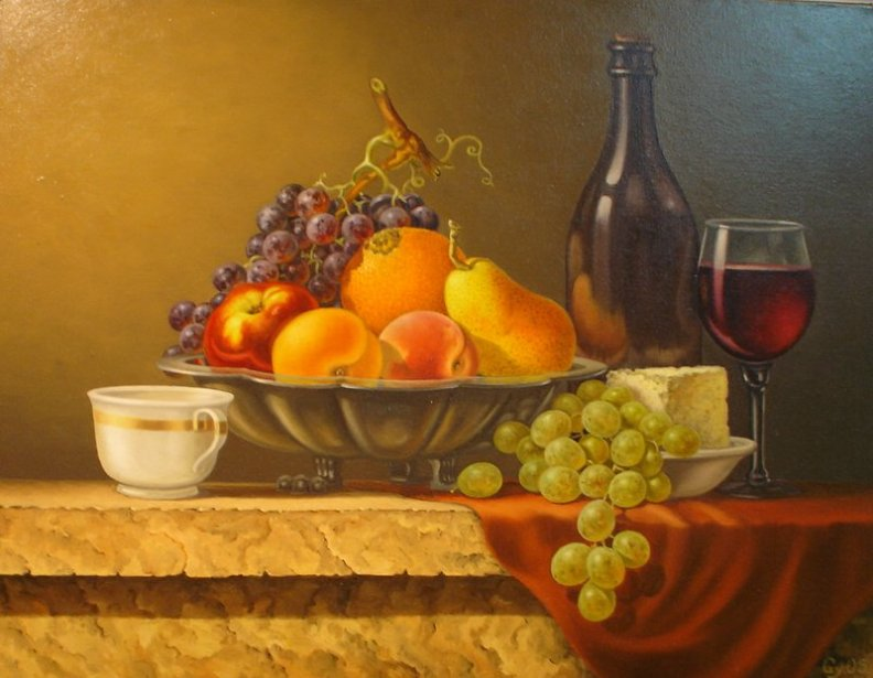 still life fruit wine